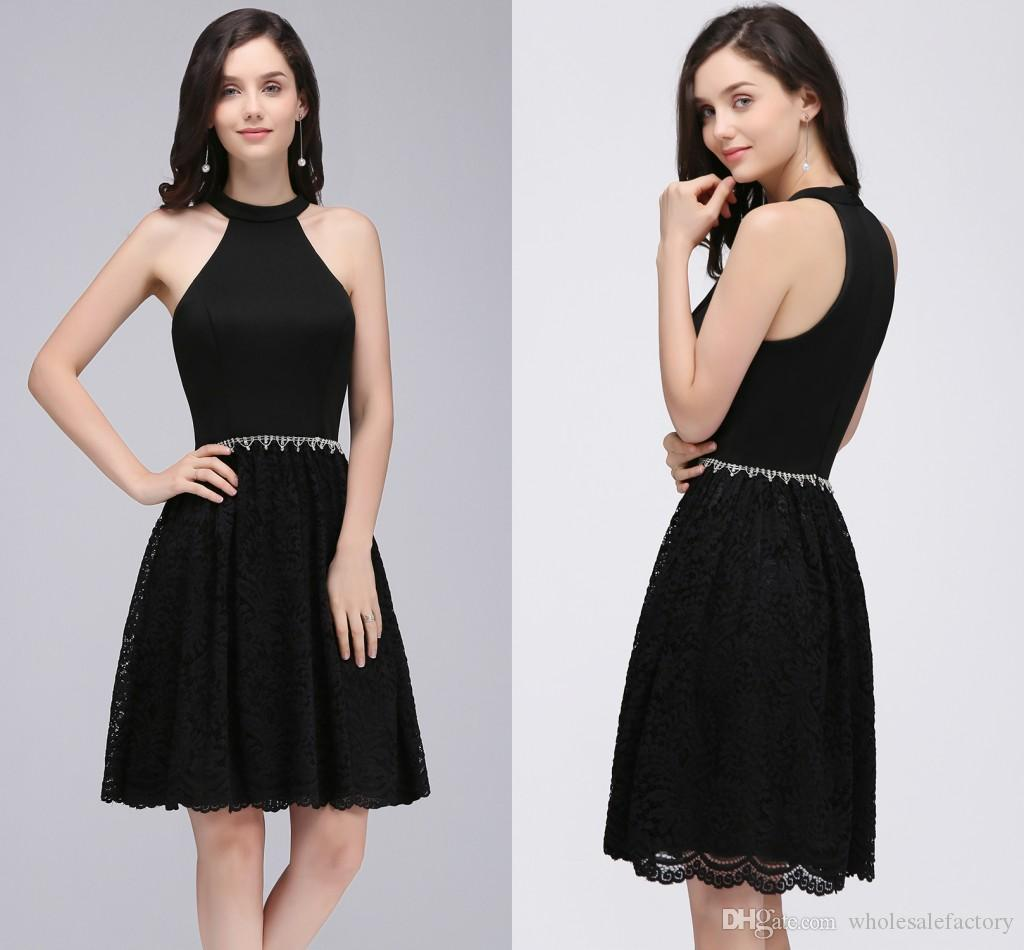 Wholesale Black A Line Party Dresses High Neck Off The Shoulder Lace ...