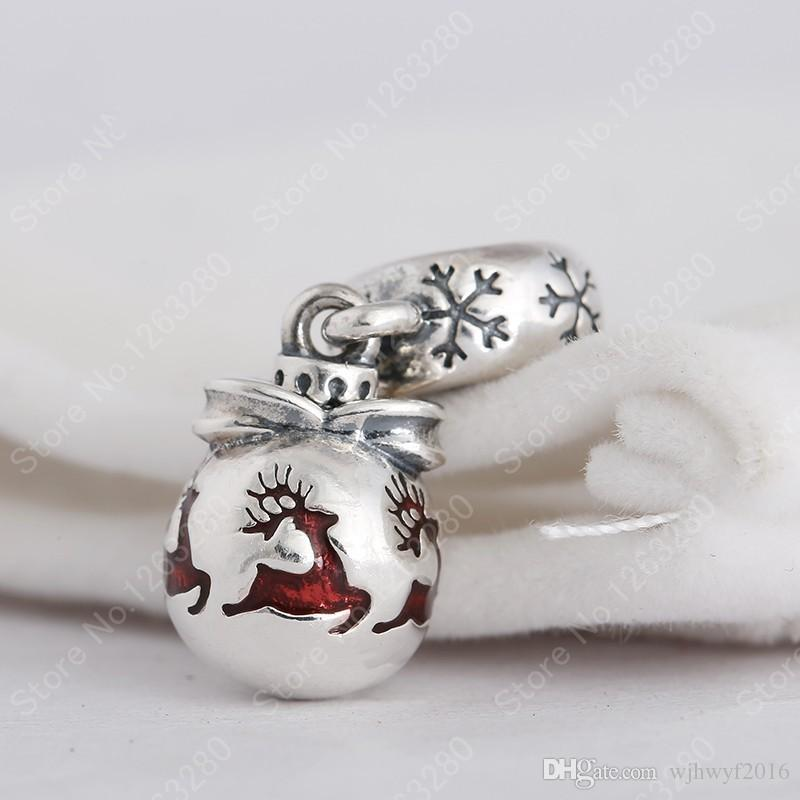 Christmas Ornament Charms Pendant 925 Sterling Silver Xmas Reindeer Beads For Jewelry Making DIY Brand Bracelets Accessories HB450