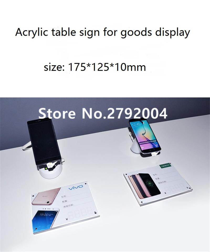 Wholesale- mobile phone retail store EAS system desktop acrylic solid  glassy price tag 175*125mm