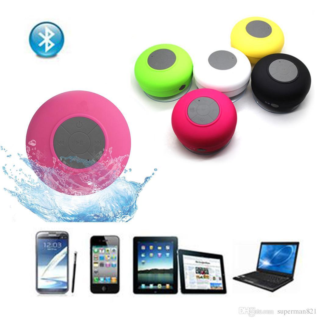 Nueva moda Portátil Subwoofer Ducha Impermeable Bluetooth Altavoz Manos Libres de Coche Reciba Llamada Micrófono de Succión de Música Para iPhone Samsung