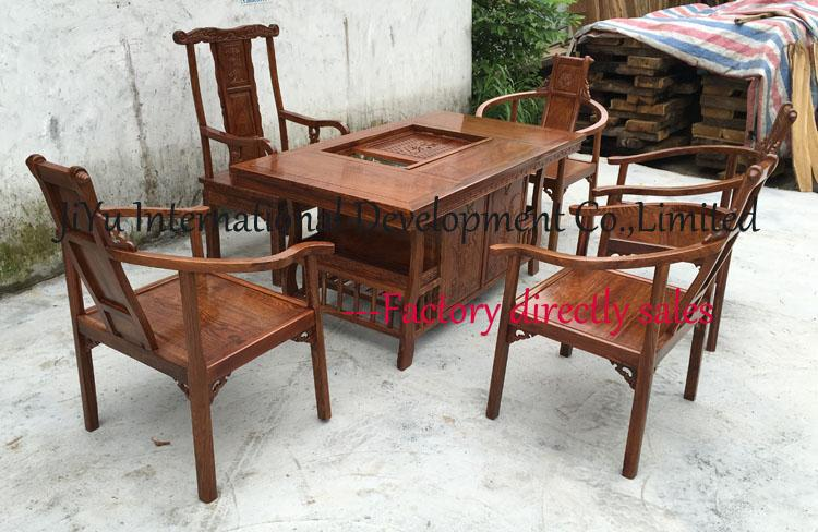 100% African Red sandalwood durable tables living room furniture coffee table natural lacquer craft desk and chairs