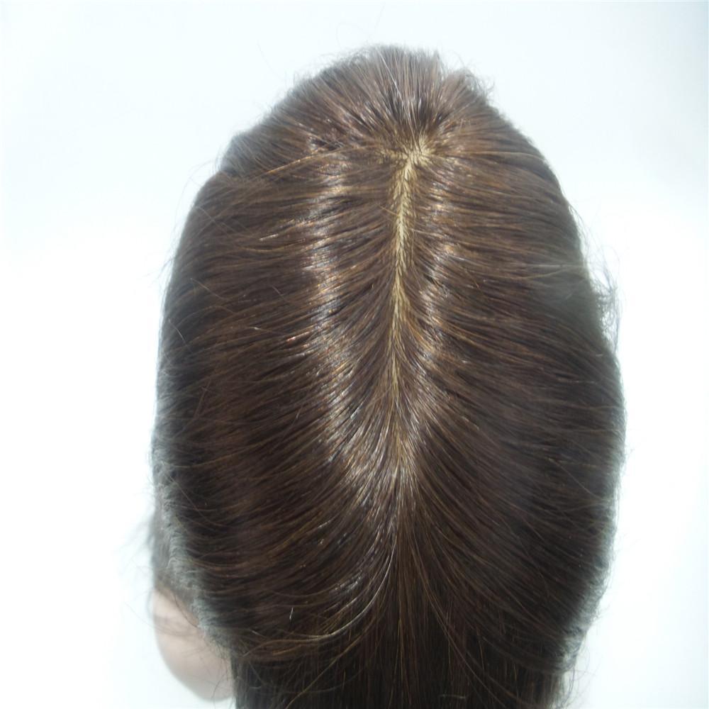 Base De Seda luxuosa Full Lace Wigs Em Linha Reta Brasileira Remy Do Cabelo Humano Para As Mulheres Negras Cor Natural 2 # LATA CHEIA do CABELO HUMANO 100% KAVELL