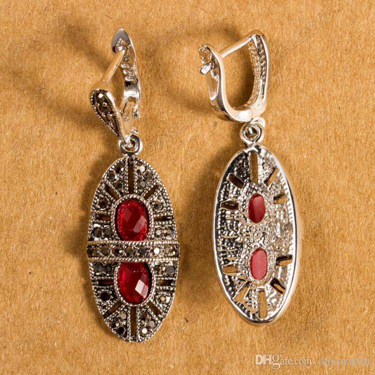 Cason Vintage Statement Jewelry Sets Retro Thai Silver Plated Black Zircon Pendant Necklaces & Earrings Red Colour Drop Shopping XS121