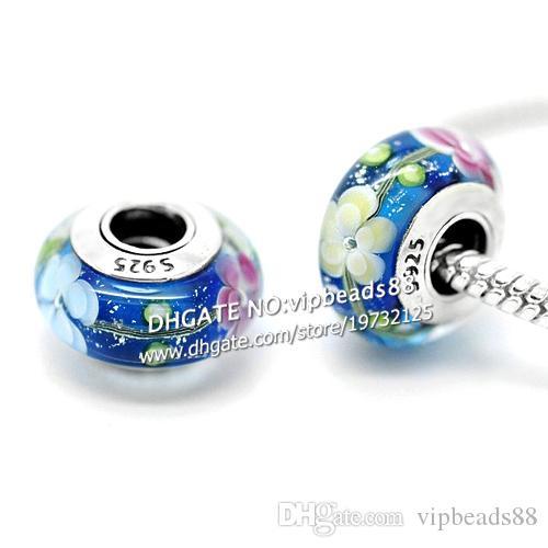 S925 gioielli in argento sterling giallo polvere blu tre colori perline in vetro di murano adatto europeo fai da te braccialetti con ciondoli pandora collana 058
