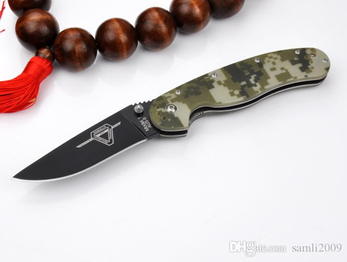 Promotion!!High quality Folding knife Ontario RAT Model 1 outdoor tactical knife AUS-8 blade G10 Handle survival Knives