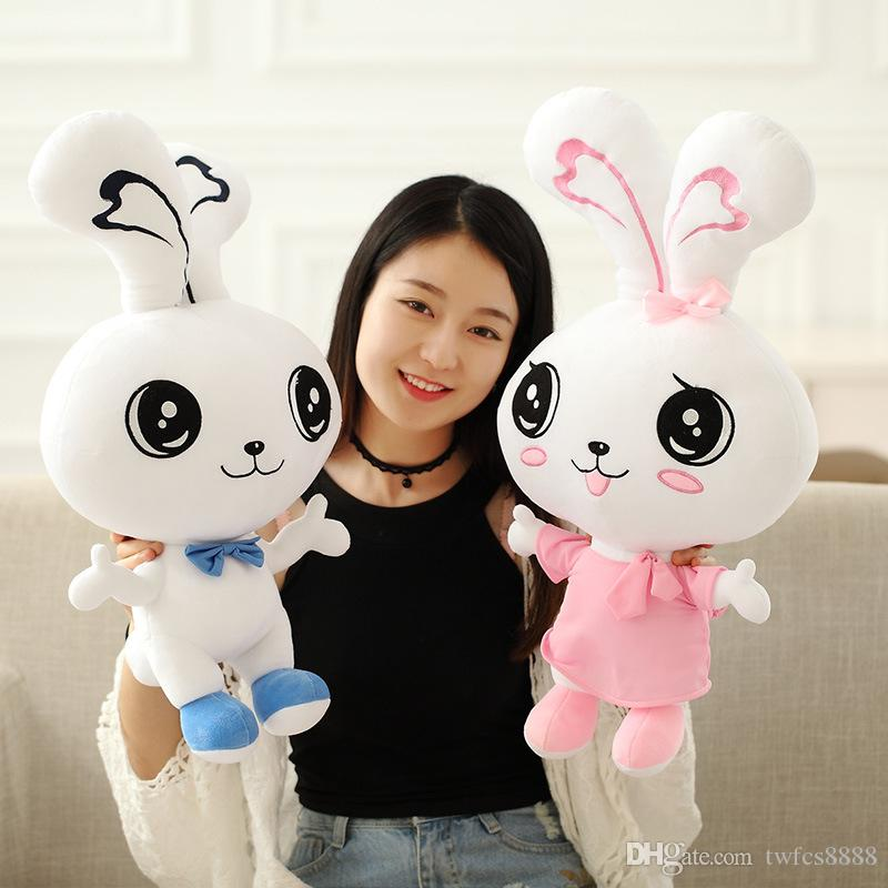 New Cute Bowknot Big Eyes Lovers Rabbit Pp Cotton Plush Toys 40cm 15 7 Valentines Day Gifts Girl Friends Gifts Birthday Gifts Valentinesday Gifts