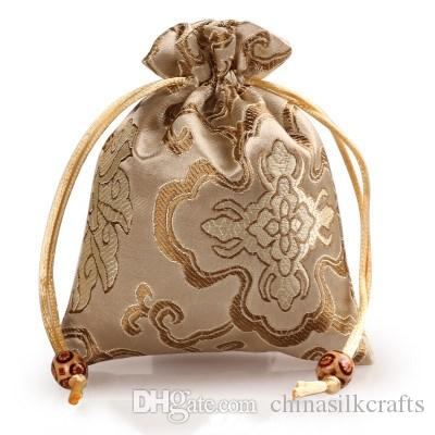 Thicken Rich Flower Small Cloth Gift Bags Drawstring Silk Brocade Jewelry perfume Makeup Tools Storage Pouch Candy Tea Favor Bag Packaging