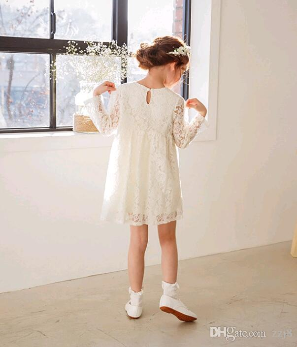 2017 Autumn Lace Dress for Girls New Arrival Korea Children Clothes Kids Princess Casual Dress fit 4-12 years old child