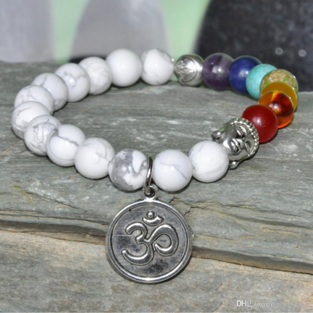 Paciência Mala pulseira, Buddha Pulseira, Howlite Gema, mala de pulso, 7 Chakra bracelete, pulseira flor Lotus, OM pulseira de ioga, oração mala