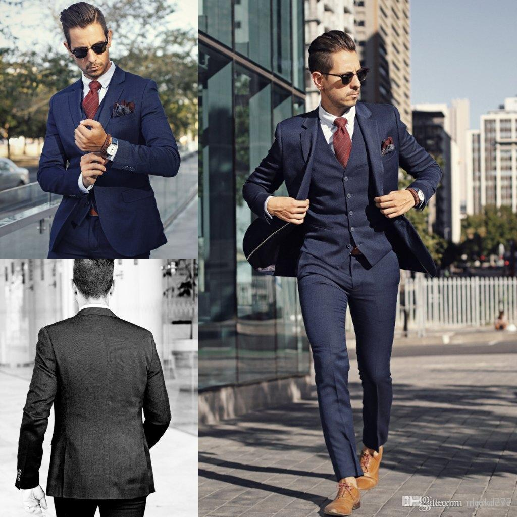 Cool Blue Groom Tuxedos Three Pieces Slim Fit Formal Men Suit High ...