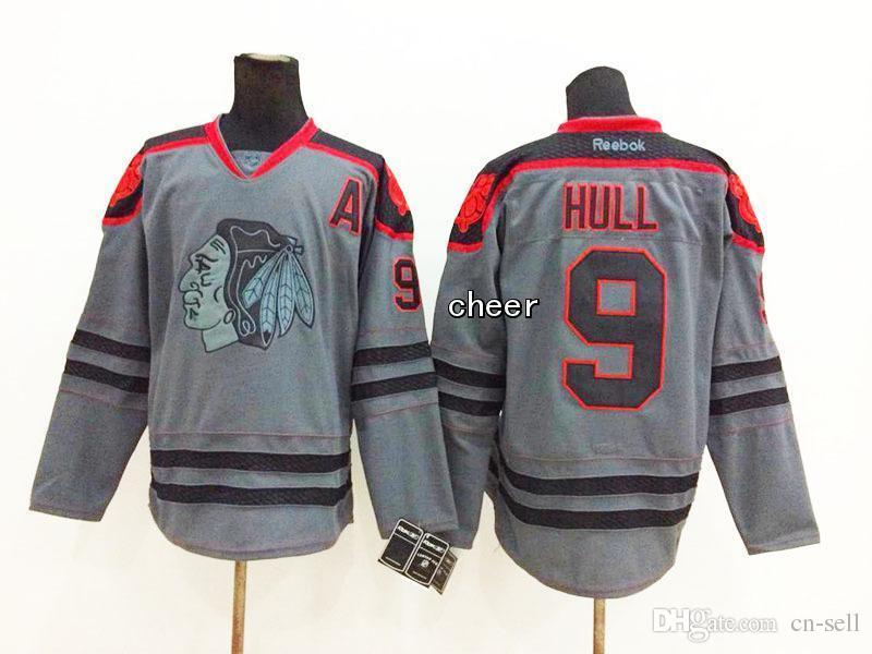 2018 Wholesale Men S Chicago Blackhawks  9 Hull Grey Cross Check Jerseys  Ice Hockey Jerseys From Cn Sell 54f09b635