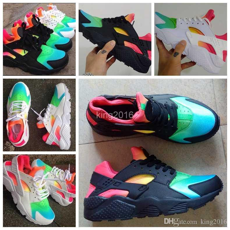 25c528590515 ... new zealand 2017 air huarache running shoes for men womenwoman mens  black white rainbow huaraches multicolor