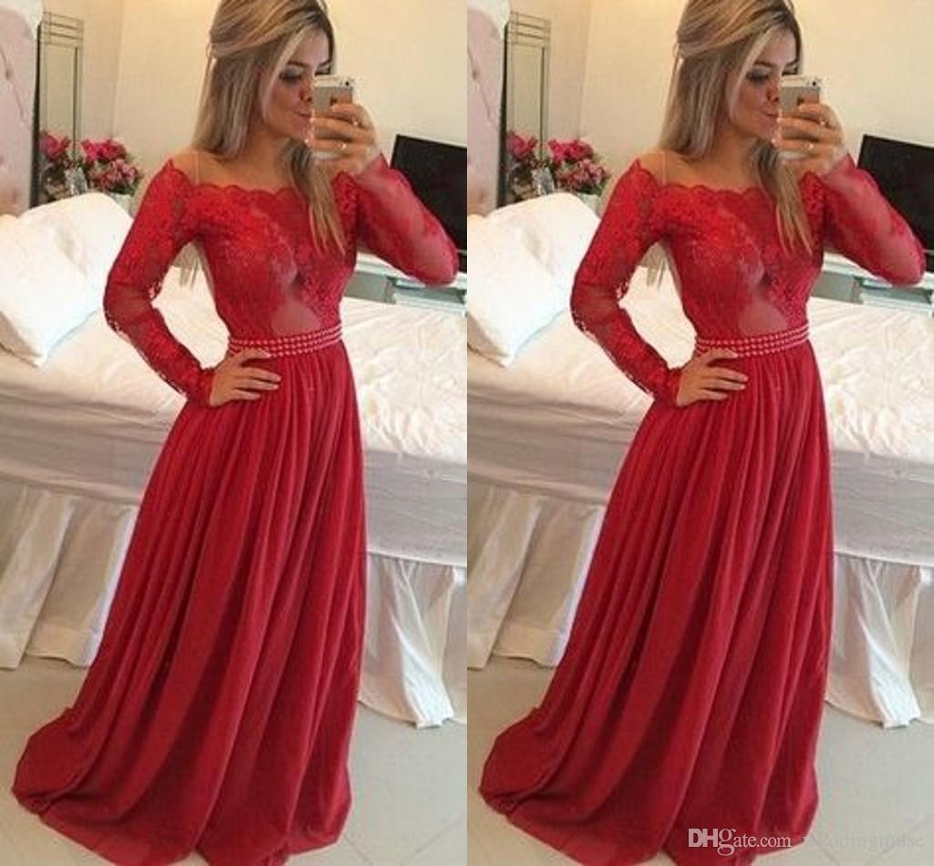 Red Prom Dresses Long Sleeve Off Shoulder A Line Appliques Lace On ...