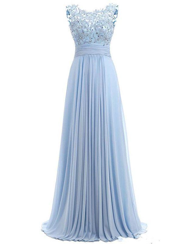 Robe de bal bleue à manches courtes 2019 Robe Ceremonie Femme Longue Robes de soirée élégantes parole longueur Robes de soirée