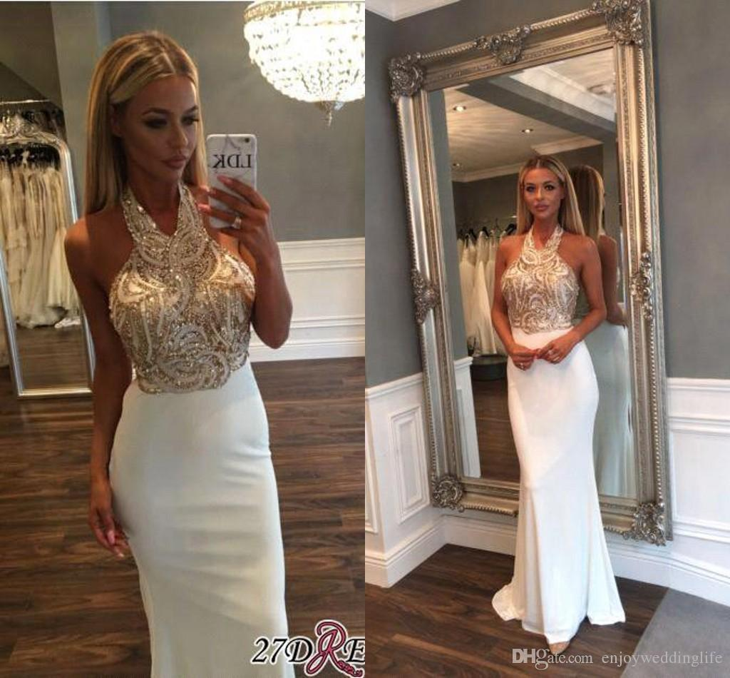 1225a55ea0 Bling Sparkly White Mermaid Prom Dresses 2018 New Sexy Halter Gold Sequins  Long Evening Wear Sexy Backless Floor Length Prom Gowns BA6597 Long Gowns  Pink ...