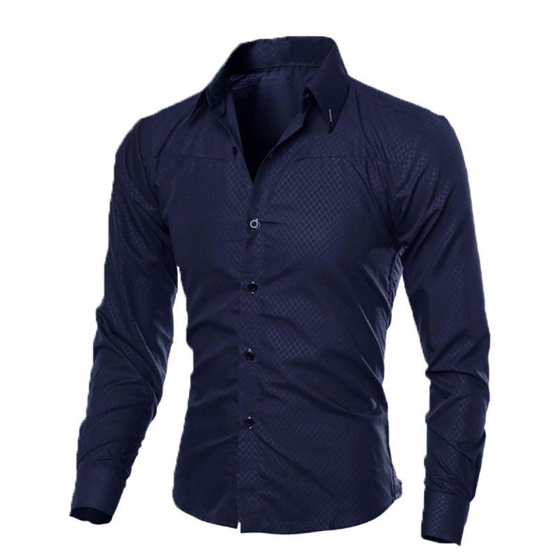 De lujo para hombre Slim Fit camisa de manga larga camisas de vestir camisas formales casuales de negocios sólido marca de ropa camisa social masculina M-4XL