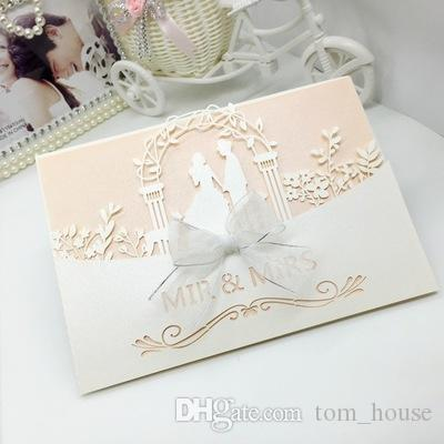 ... Favors Invitations Card Bridal Shower White Marriage Elegant Laser Cut  Cards Kits With White Envelope Bow Make Your Own Wedding Invitations Online  Order ...
