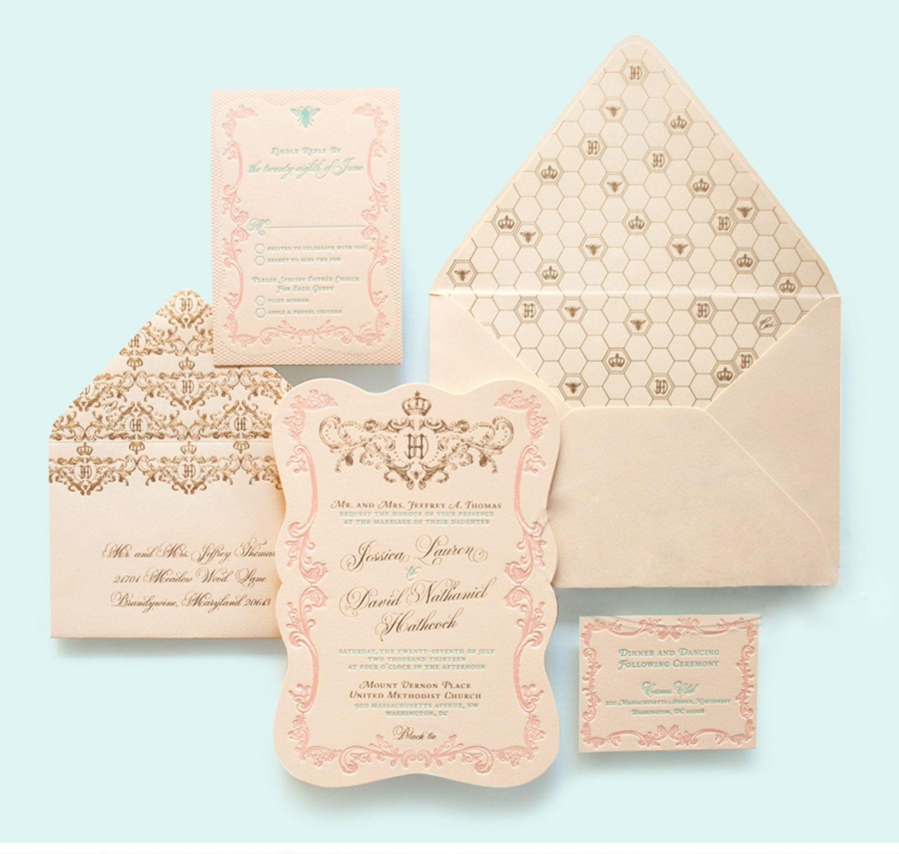 Regal French Inspired Wedding Invitation, Letterpress Printing ...