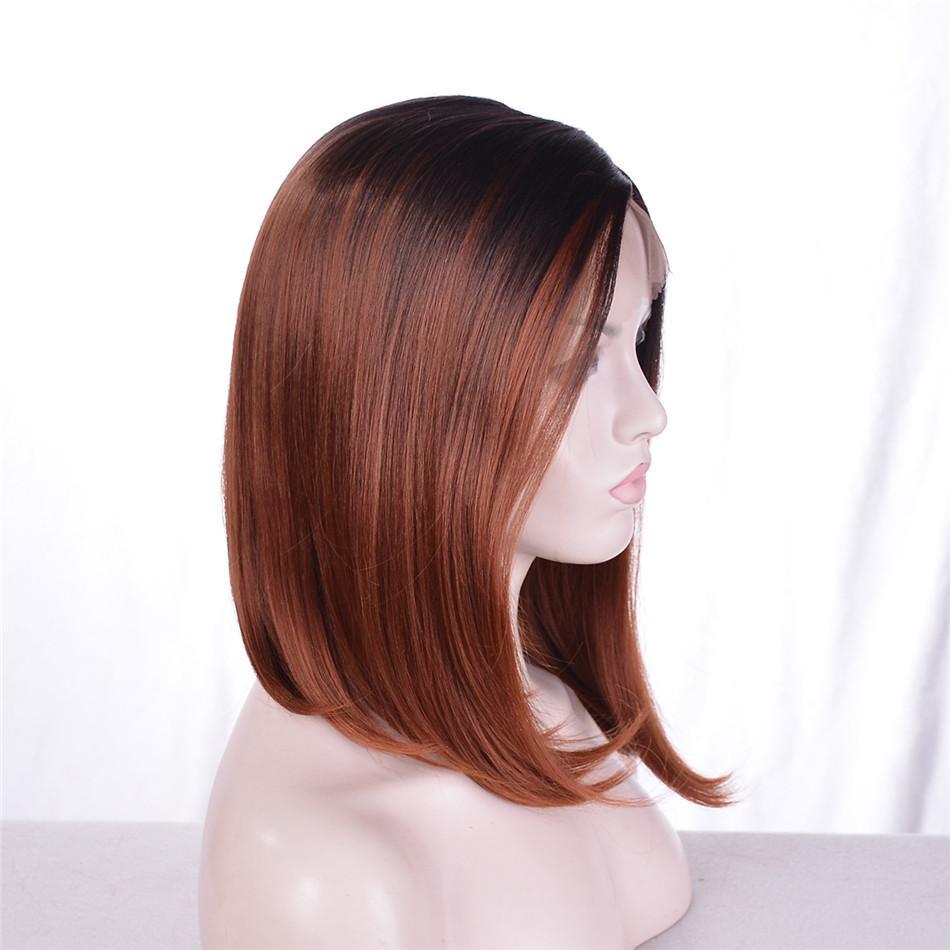 Kabell Moda afro-americana perucas perucas dianteira preta Raiz Castanho claro Cores misturadas Liso cabelo Misto cabelo 18 polegadas perucas dianteiras do laço