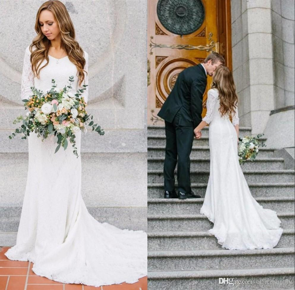 Bohemian Country Long Sleeves Wedding Dresses 2018 White Lace ...