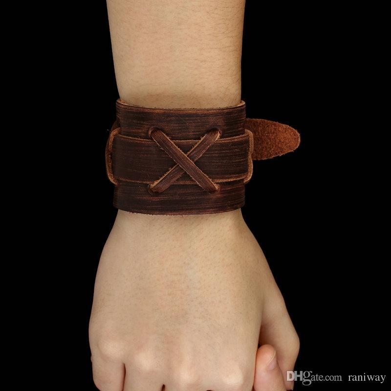 Vintage Tribe Wide Genuine Leather Wristband Cuff Bracelet Bangle Brown Punk Rock Biker Mens Jewelry Gift