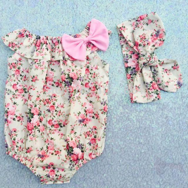 2017 Новое прибытие лето розовый Винтаж вдохновленный цветочные новорожденных девочек рукавов ползунки+ободки 2 шт. наборы Детская одежда