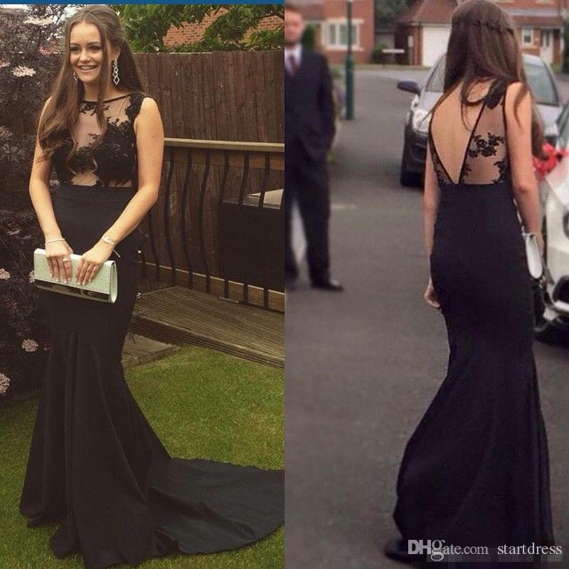 Elegant Black Mermaid Prom Dresses Sexy Illusion Lace Dresses Evening Gowns V Back Fishtail Holiday Floral Appliques garden Formal Party