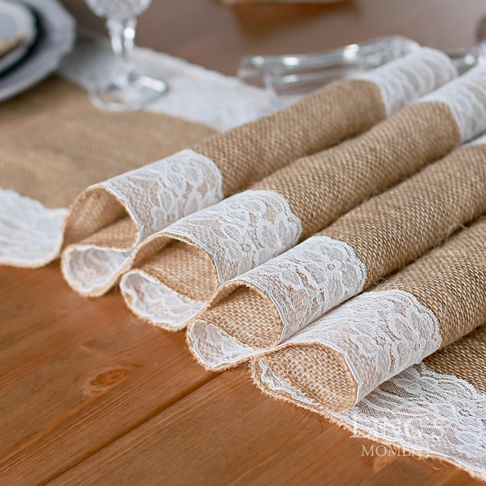 1pcs Retail Natural Burlap Table Runner Hessian Vintage Tablecloth Cover  With Jute Lace Rose Pattern For Wedding Party Rustic Decor