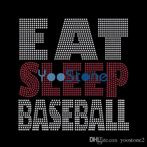Eat Sleep Baseball Rhinestone Transfer Iron On Hotfix Motif 20pcs New Design