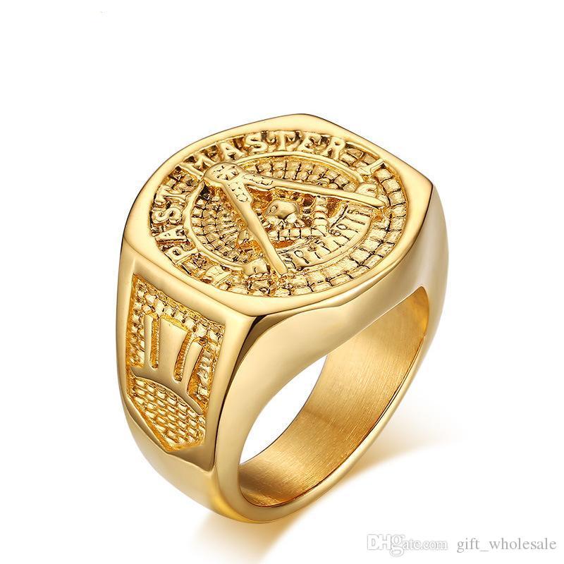 2016 Новая мода 18k GP Желтое золото титановое стальное кольцо. Размер: 9-12. Бесплатная доставка. Проводите номер отслеживания