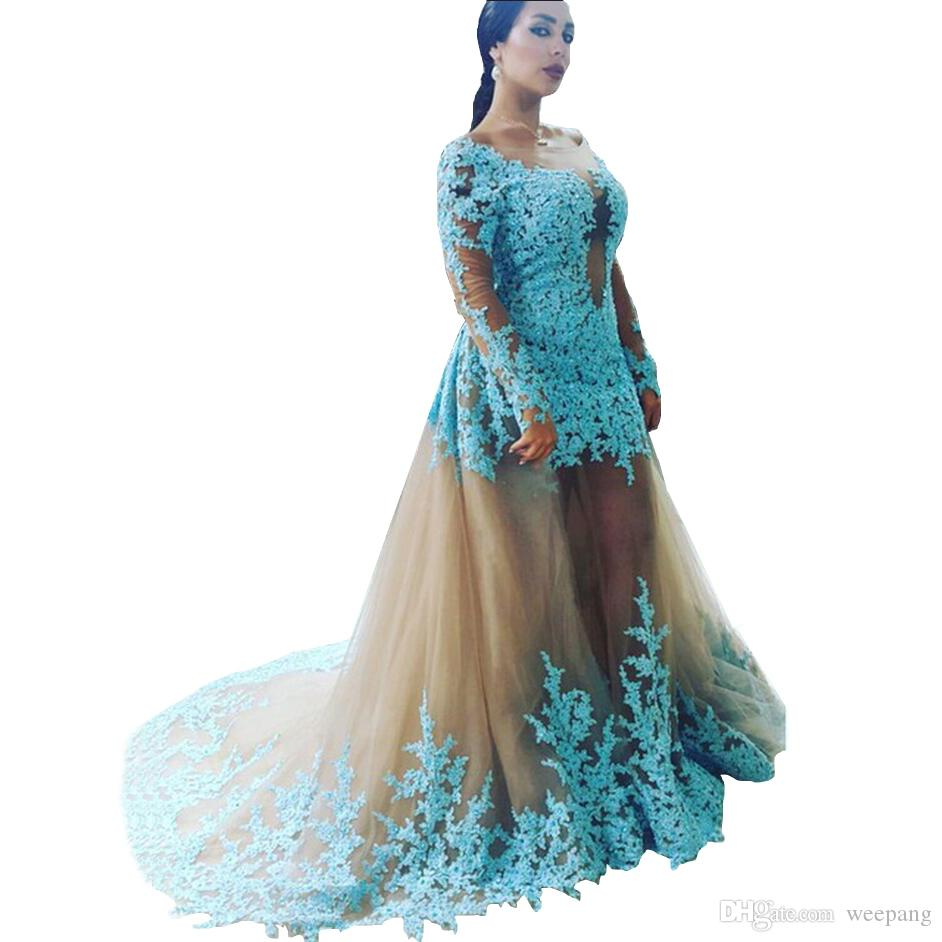 Long Sleeve Blue Lace Appliques Prom Dresses 2016 Floor Length ...