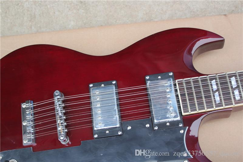 Two-neck 12-string and 6-string Electric Guitar,Dark red Body,Black Pickguard and Can be Changed ad Request