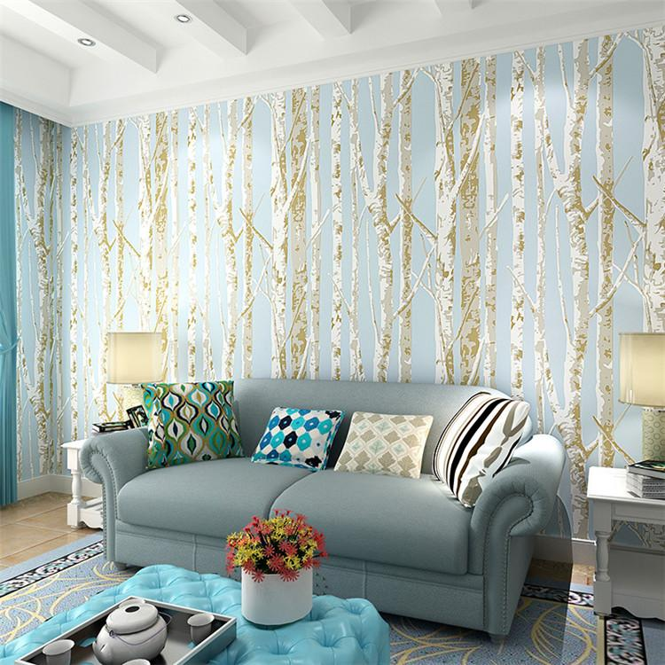 new birch tree pattern nonwoven woods wallpaper roll modern designer wall covering simple black and white wallpaper for living room jy748