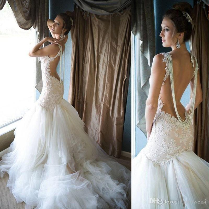 Backless Mermaid 2018 Wedding Dresses Pears Sheer Neck Lace Applique