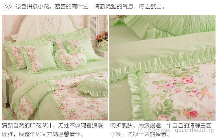 Floral color verde estampado de flores juegos de cama 4 unids conjunto funda nórdica sábana funda de almohada rey reina tamaño de las niñas en casa rosa ropa de cama envío gratis