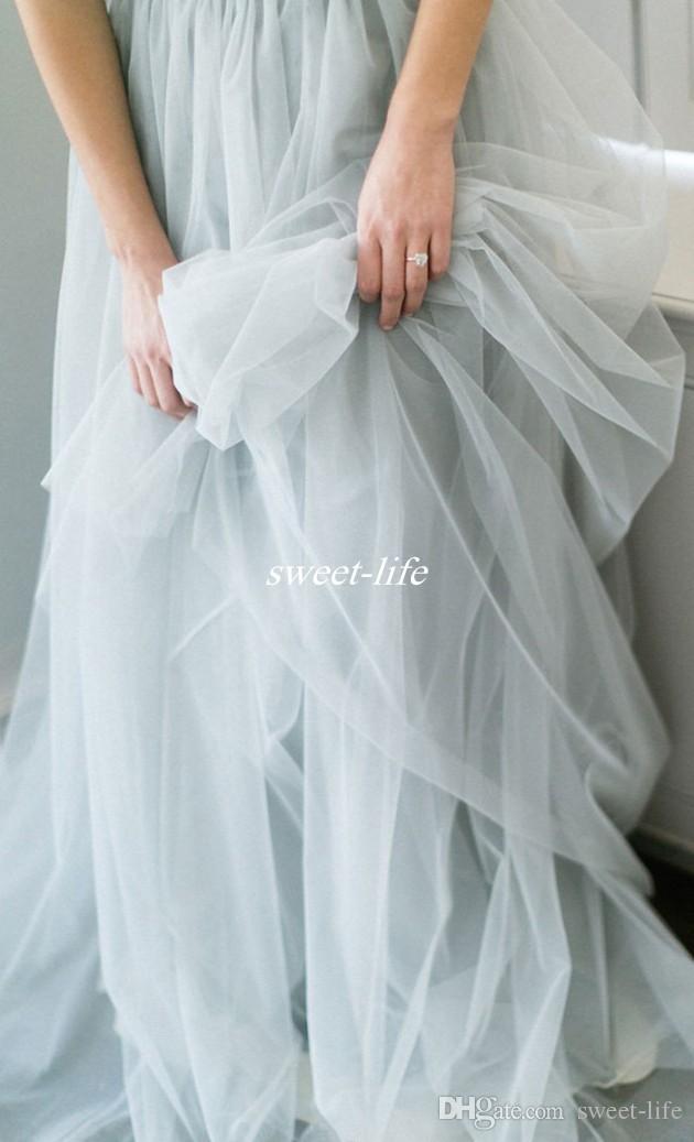 패션 보헤미아 여름 해변 웨딩 드레스 Tulle 레이스 탑 크루 넥 라인 짧은 소매 2019 섹시한 야외 웨딩 신부 가운 저렴한
