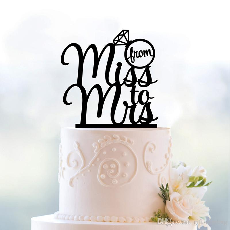 2017 From Miss To Mrs Wedding Cake Topper Romantic Wedding Cake