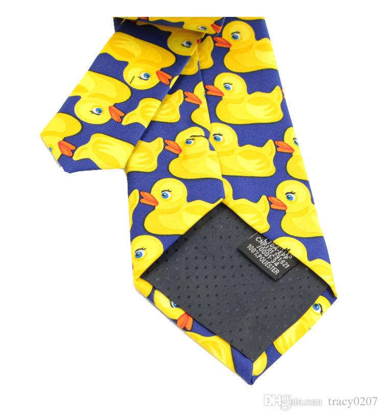 2016 NOUVEAU Hommes Cou en fibre de polyester Cravates Cravates Noeuds cravate Motif Canard Jaune Homme Narrow Design extrémité pointue Cravate Arder Cou