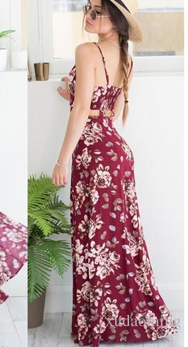Nuova stampa Longuette Sexy Vent V Lead Maxi Beach Dress maniche lunghe lavoro casuale Denim economico le donne 2016 Abiti Bodycon 95