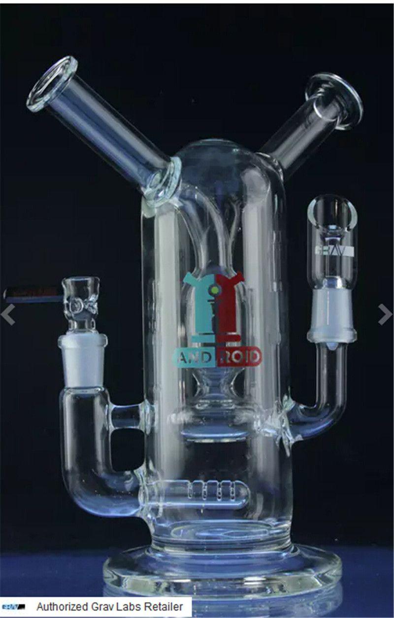 NEW DESIGN Glas Bong zwei offene Joint-Funktion recyceln Inline-Perc Bubber Wasserrohr Rigs Öl Kliesche 14,4 Männer und Frauen IN sehr robust Glas