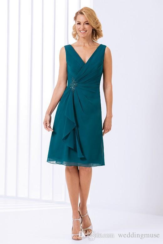 2021 الأخضر تيل الأم من فساتين العروس الياسمين الخامس الرقبة طول الركبة قصيرة الشيفون الرسمي مساء حفلة موسيقية اللباس حفل زفاف