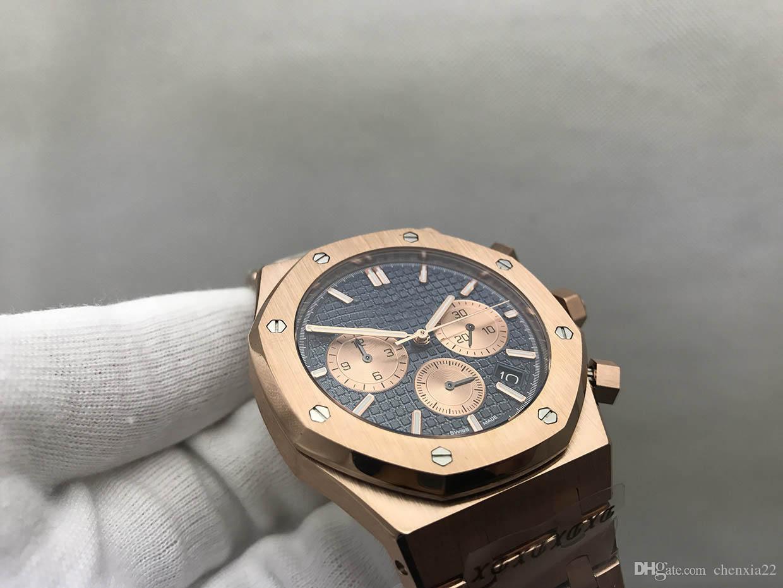 10b6fbde544 Compre 2017 Novo Relógio De Melhor Marca De Luxo Da Marca Relógios Royal  Oak Relógios De Ouro Dos Homens De Ouro VK Movimento De Quartzo Chronograph  Azul ...