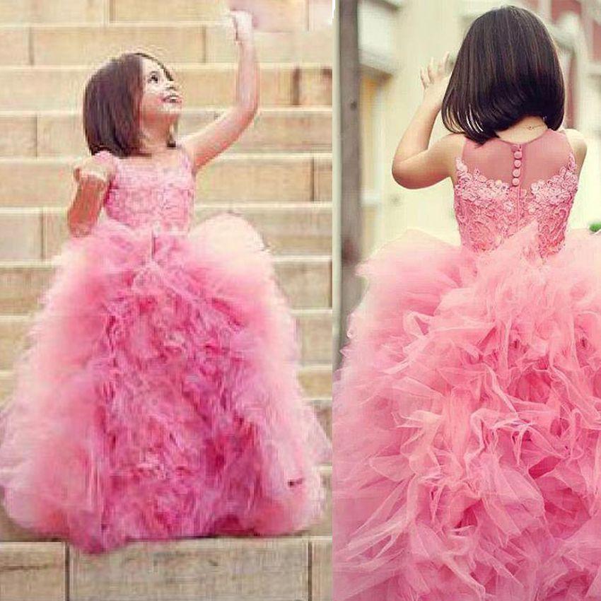 Cute Ball Gown Flower Girls Abiti matrimoni increspati Tulle Skirt floor-lunghezza Pizzo rosa Girls Pageant Abiti Abiti bambini