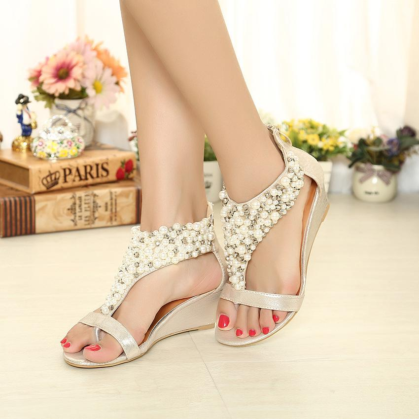749a36f2780 New Summer Pearl Beaded Wedges Sandals Shoes Fashion Women Sandals Flip  Flops Flat Shoes Open Toe Shoes Black+Gold 5cm High Heel Tall Gladiator  Sandals Tan ...