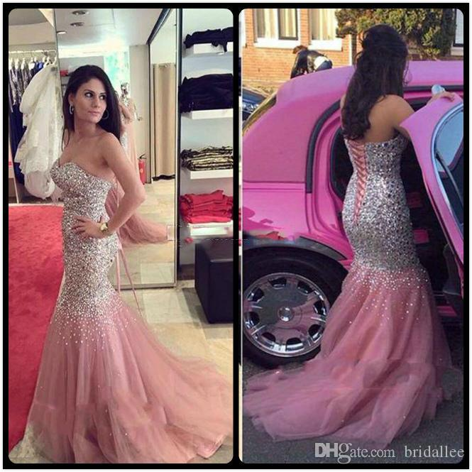 2018 Luxury Mermaid Prom Dresses Sweetheart Crystal Sequins Beaded Tulle Satin Floor Length Plus Size Skin Pink Evening Dress Pageant Gown