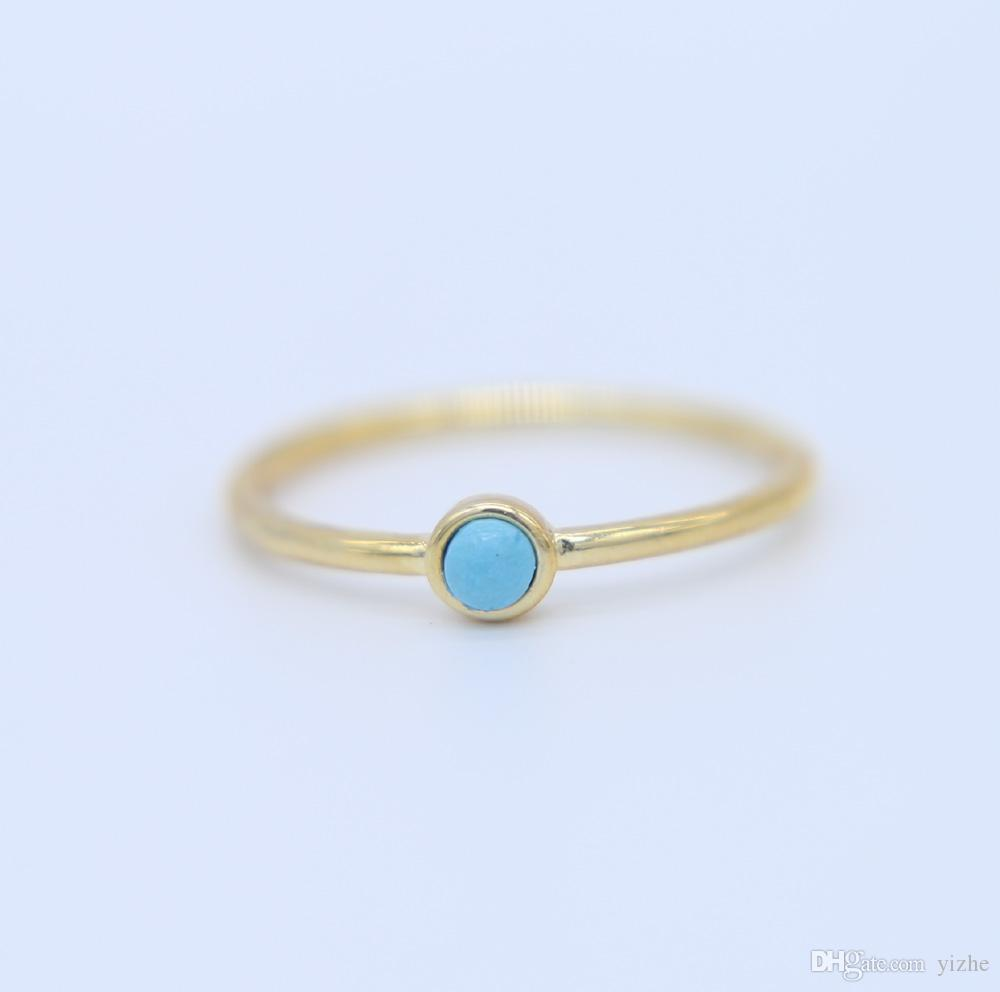 2018 Us Size 6 8 Dainty Delicate Gold Filled 3mm Turquoise Stone
