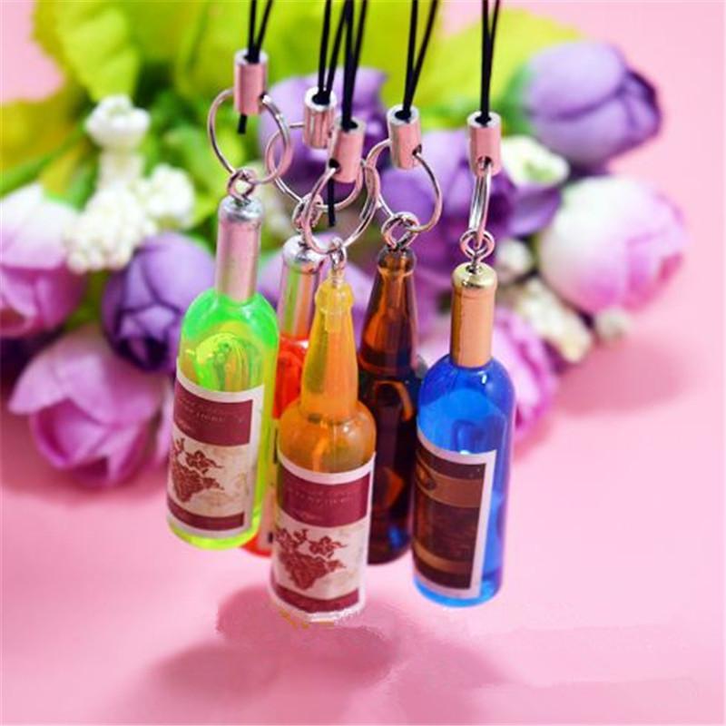 لطيف زجاجة نبيذ صغيرة سلاسل الهاتف الخليوي سلسلة الهاتف المحمول قلادة مفتاح سلسلة حلقة رئيسية زجاجة بيرة الإبداعية zpg283 قلادة المتنقلة