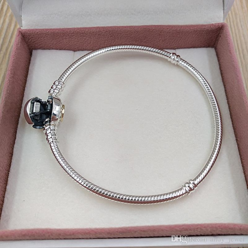 Authentische 925 Sterling Silber Perlen Moments Two Tone Armband mit p Signature Verschluss passt europäischen Pandora Style Schmuck Charms 590741CZ