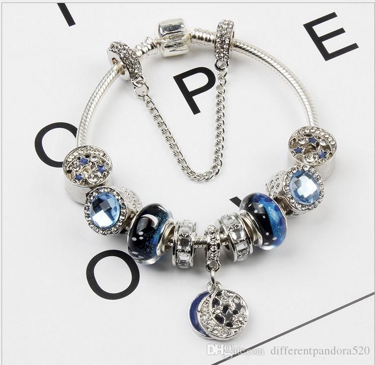 3451f97ea35 Acheter 2017 Vente Chaude Style Pandora Bracelet Étoile De Lune Minuit Bleu  Cristal CZ Charme Perle Bracelet Mode Bijoux Accessoires Chamilia  Européenne De ...