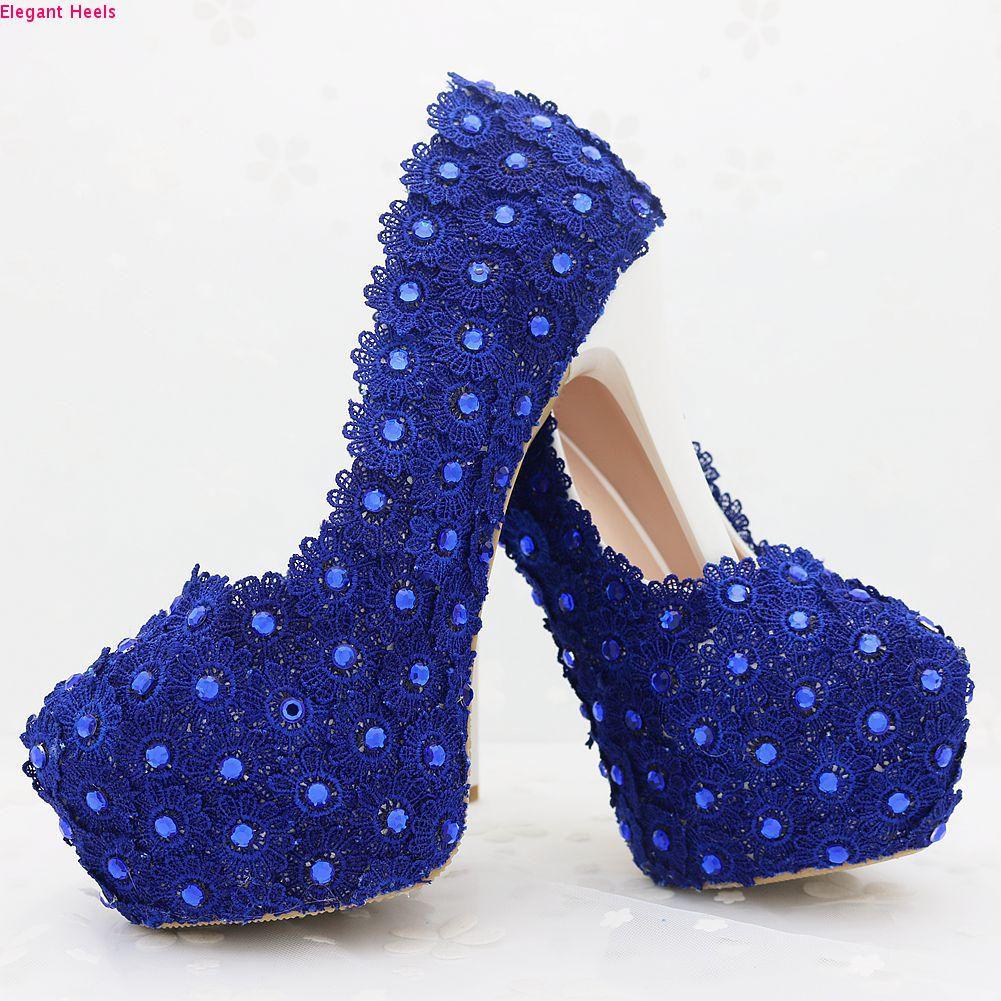 New Royal Blue dentelle strass hauts talons pompes chaussures pour femmes pompes talons en dentelle bleues Strass Pompes femmes